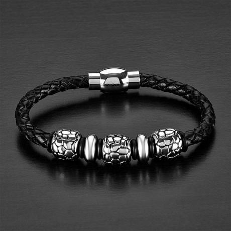 Reptilian Beaded + Leather Bracelet // Black + Silver