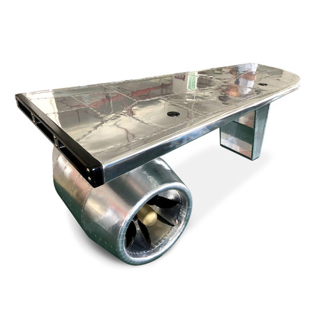 Large Aviator Executive Desk // Jet Engine + Wing