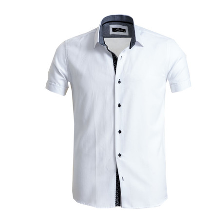 Short Sleeve Button Down Shirt I // White (S)