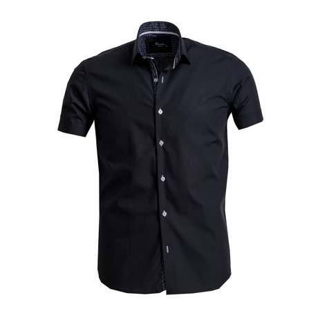 Short Sleeve Button Down Shirt // Black (S)