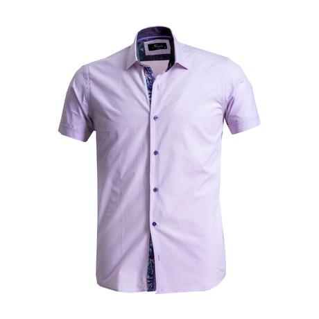 Short Sleeve Button Down Shirt // Light Purple (S)