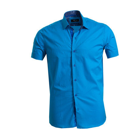 Short Sleeve Button Down Shirt I // Medium Blue (S)