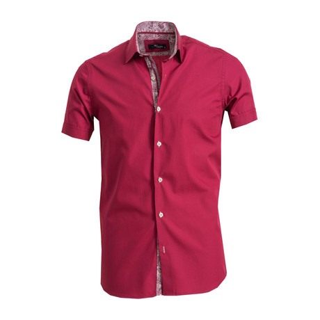 Short Sleeve Button Down Shirt // Burgundy (S)