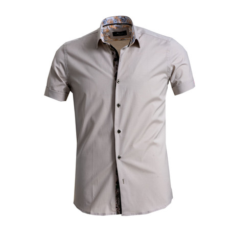 Short Sleeve Button Down Shirt // Beige (S)