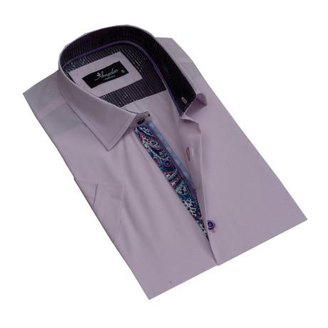 Short Sleeve Button Down Shirt // Light Purple (S)