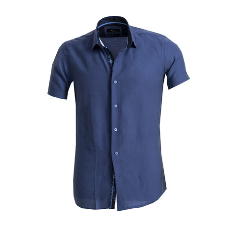 Short Sleeve Button Down Shirt // Blue (S)