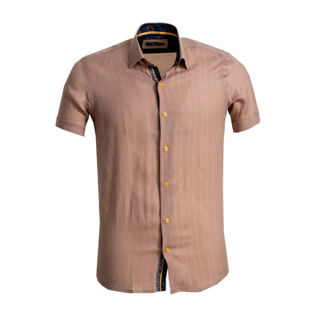 Short Sleeve Button Down Shirt // Light Brown (S)