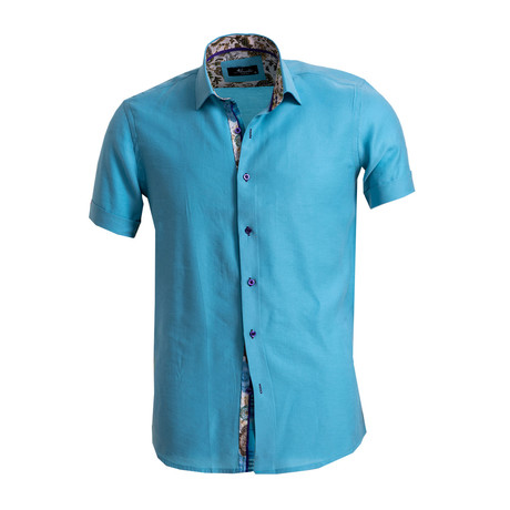 Short Sleeve Button Down Shirt // Turquoise Blue (S)