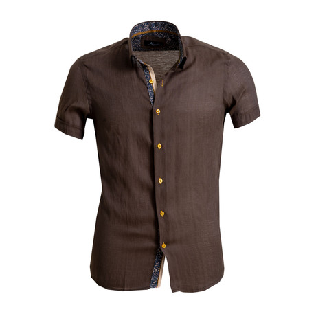 Short Sleeve Button Down Shirt // Dark Brown (S)