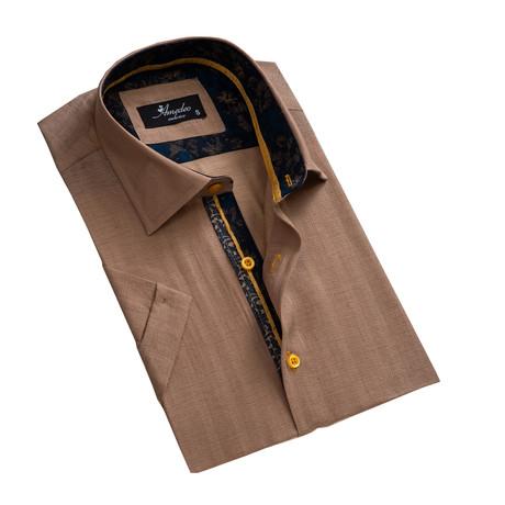 Short Sleeve Button Down Shirt // Light Brown (S)