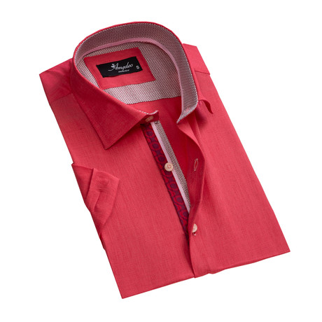 Short Sleeve Button Down Shirt // Bright Red (S)