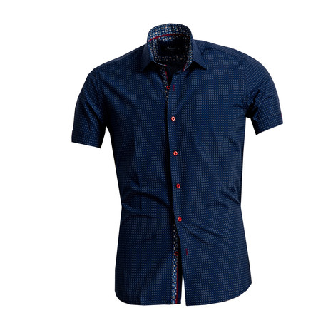 Circle Print Short Sleeve Button Down Shirt // Navy Blue (S)