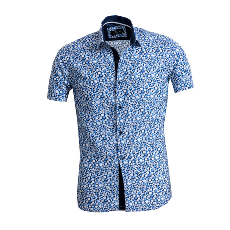 Circle Print Short Sleeve Button Down Shirt // White + Blue (S)