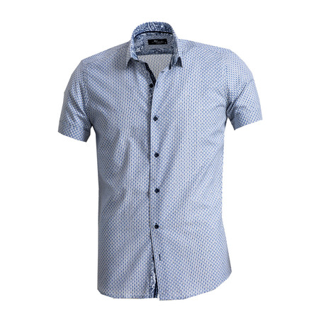 Short Sleeve Button Down Shirt // Blue + Gray (S)