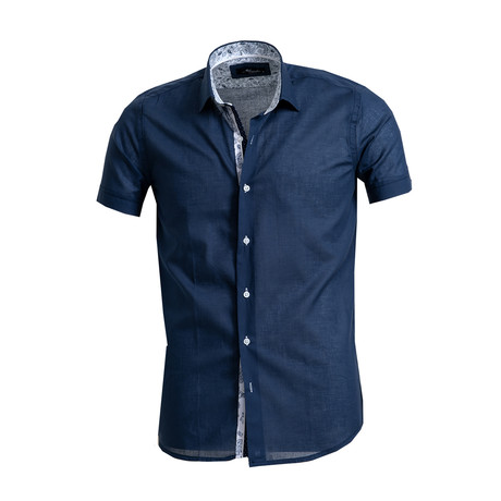 Short Sleeve Button Down Shirt I // Navy Blue (S)