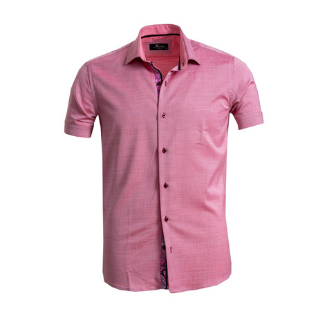 Short Sleeve Button Down Shirt // Pink (S)