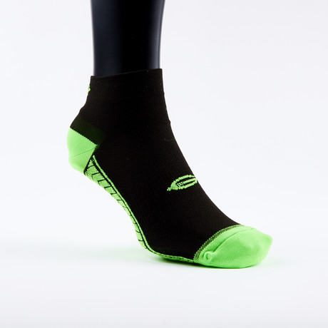 PF2 Memory Foam Padded Performance Socks // Black + Neon Green (X-Small)
