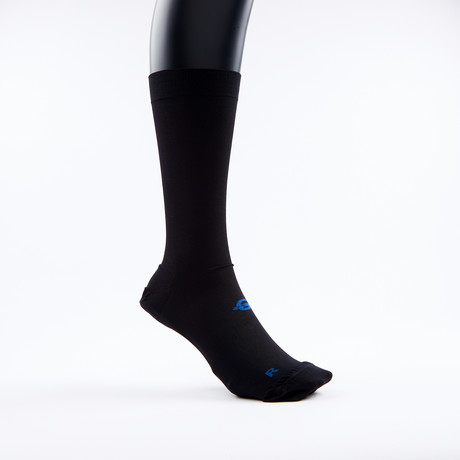 PF1 Memory Foam Padded Performance Compression Socks // Black Crew (XSmall)