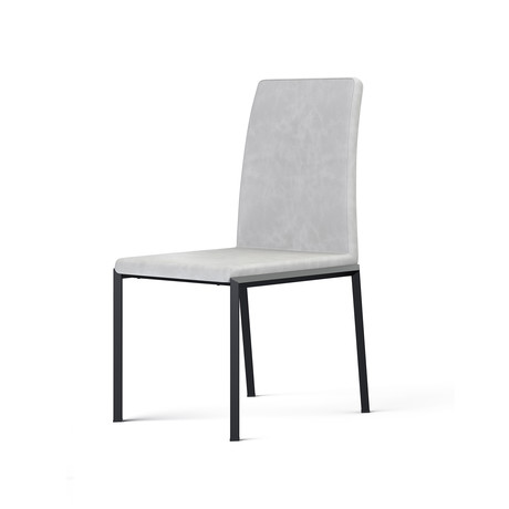 Social Dining Chair (Gray + Stainless Steel)