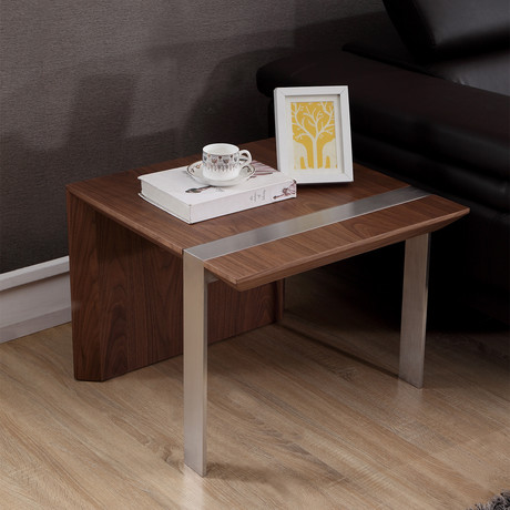 Director End Table (Light Walnut + Stainless Steel)