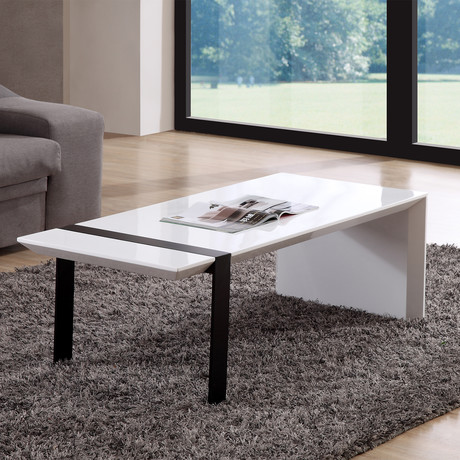 Director Coffee Table (High-Gloss White + Black Steel)