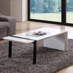 Director Coffee Table (High-Gloss White + Black Steel)