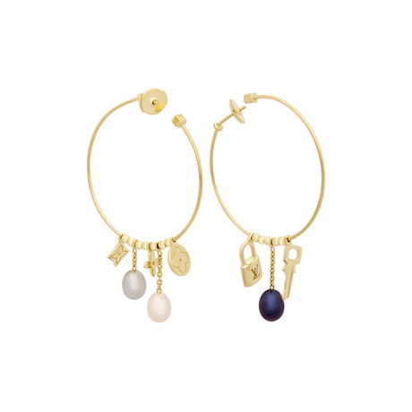 Louis Vuitton 18k Yellow Gold Creoles Monogram Pearl Earrings // Pre-Owned