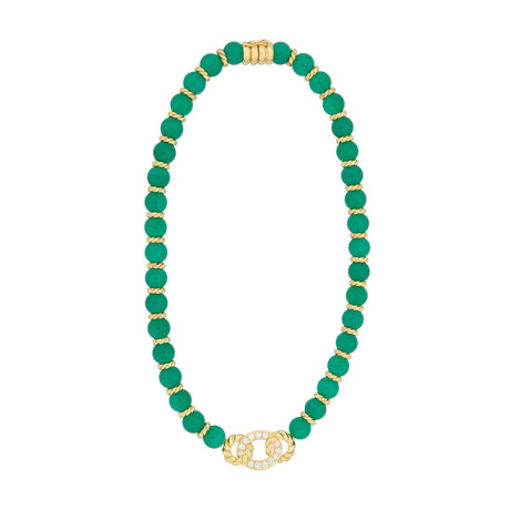 """Christian Dior 18k Yellow Gold Chalcedony + Diamond Necklace // Length: 15.75"""" // Pre-Owned"""