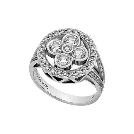 Louis Vuitton 18k White Gold Monogram Forever Diamond Ring // Ring Size: 6 // Pre-Owned