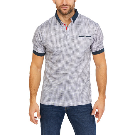 Raphael Short Sleeve Polo Shirt // Patterned White (Small)