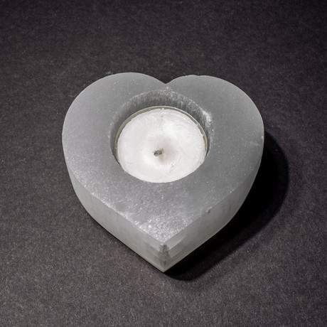 Genuine Polished Heart-Shaped Cats-Eye Selenite Candlestick Holder