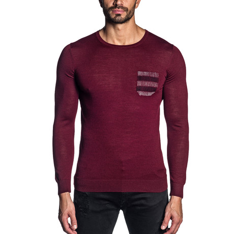 Adler Crew Neck Knit Sweater // Wine (S)
