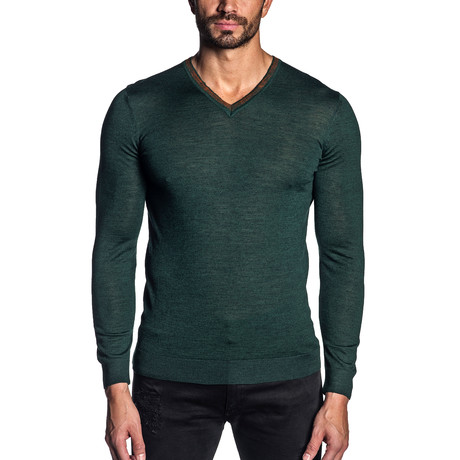 Joshua Knit V-Neck Sweater // Green (S)