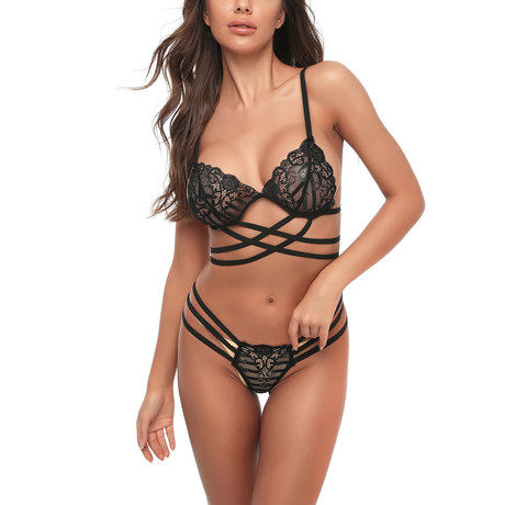Whisper Bralette + G-String // 2 Piece // Black (S)