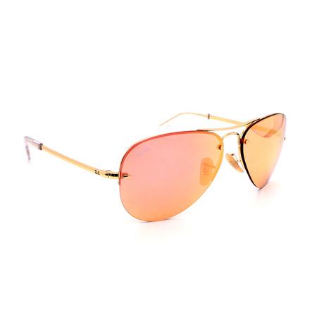 Women's RB3449-1E4 Aviator Sunglasses // Gold + Pink Mirror