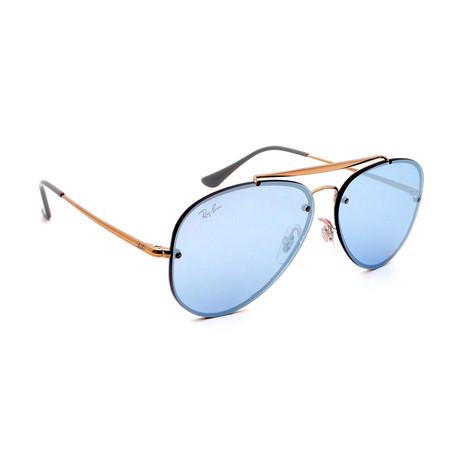 Unisex RB3584N-905531U Blaze Aviator Sunglasses // Gold + Blue Mirror