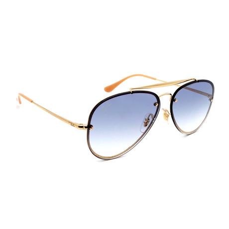 Women's RB3584N-119 Blaze Aviator Sunglasses // Gold + Blue Gradient