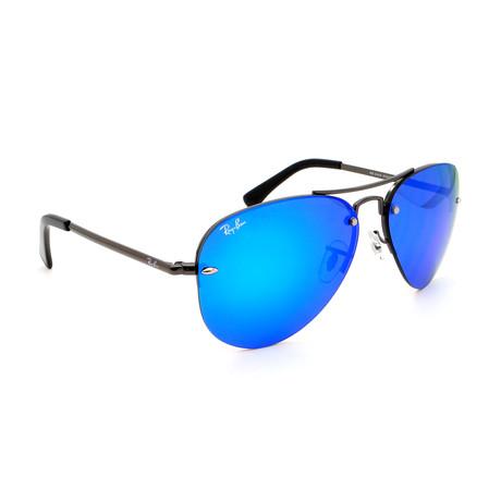 Unisex RB3449-455 Aviator Sunglasses // Gunmetal + Blue Mirror