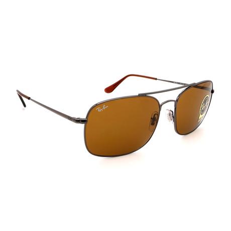 Unisex RB3611-433 Rectangular Sunglasses // Gunmetal + Brown