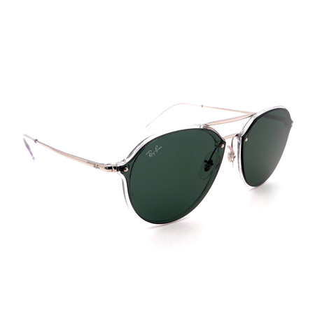 Unisex RB4292N-632571 Double Bridge Sunglasses // Silver + Green