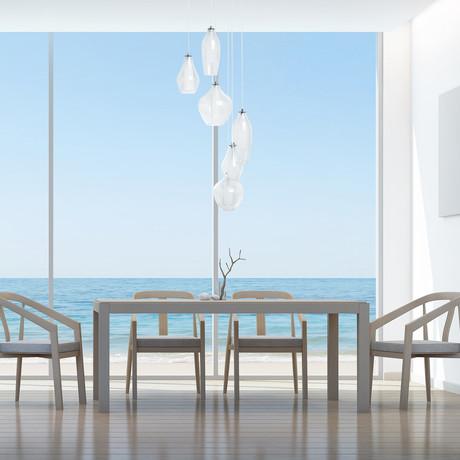 Modern Glass Shapes Chandelier // 6 Light