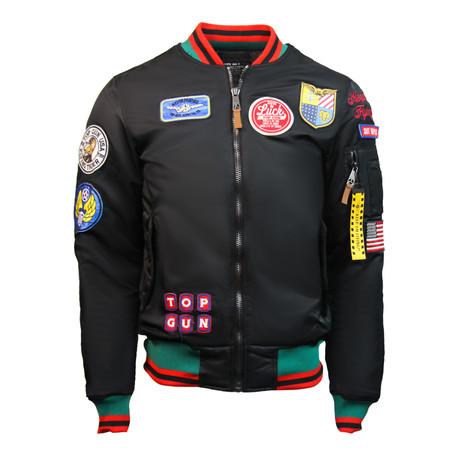 "MA-1 Colorblock ""USA Eagle"" Jacket // Black (XS)"