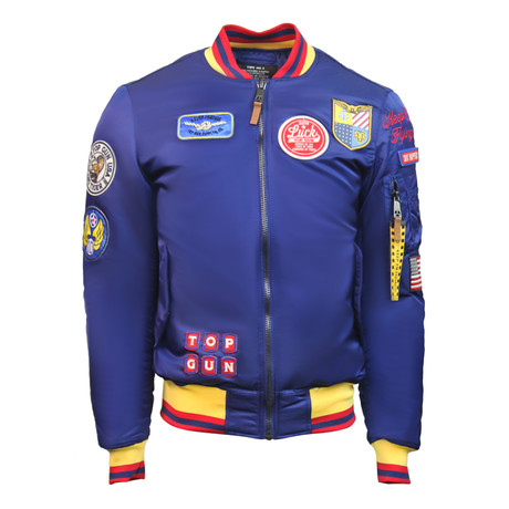 "MA-1 Colorblock ""USA Eagle"" Jacket // Blue (XS)"