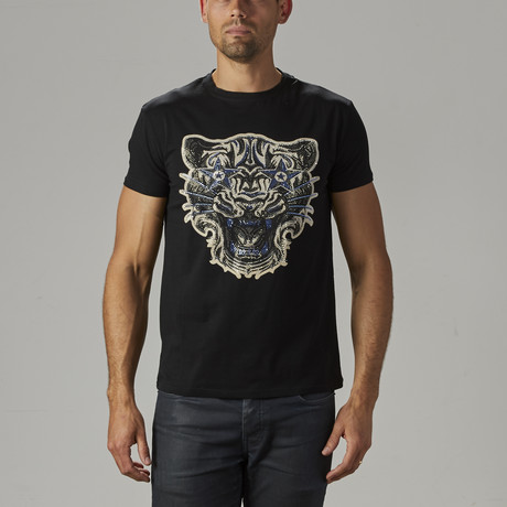 Men's Rhinestone Studded Tee // Black (S)
