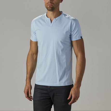 Men's Super Soft Stretch V Notch Neck Tee // Light Blue (S)
