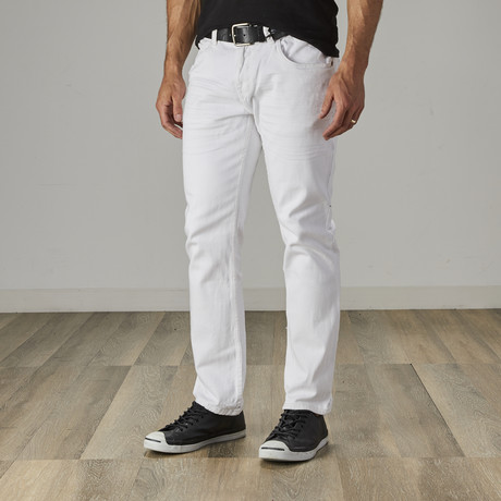 Men's Classic Belted Work Jeans // White (28WX30L)