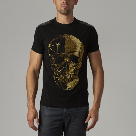 Men's Rhinestone Studded Tee // Black + Gold (S)