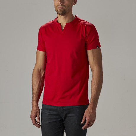 Men's Super Soft Stretch V Notch Neck Tee // Red (S)