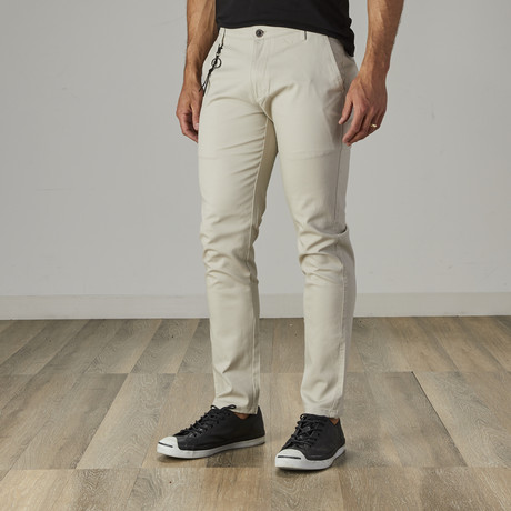 Men's Slim Fit Stretch Chinos // Stone (30WX30L)