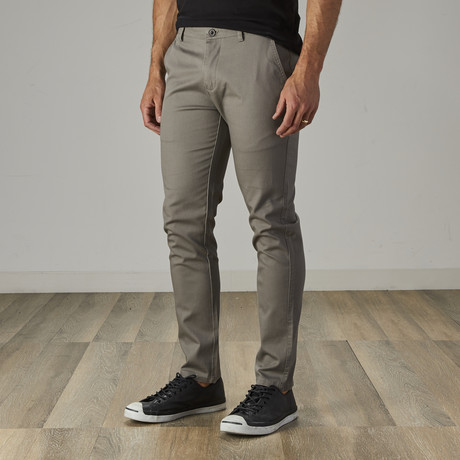 Men's Slim Fit Stretch Chinos // Ash Gray (30WX30L)